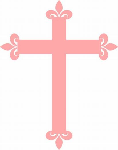 Cross Baptism Clip Clipart Pink Christening Fleur
