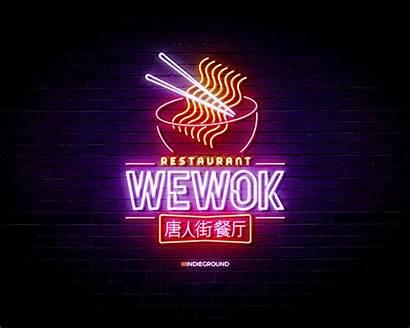 Neon Sign Photoshop Wok Restaurant Effects Psd