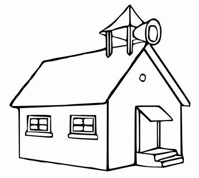 Schoolhouse Coloring Pages Clip Clipart Drawing Desk