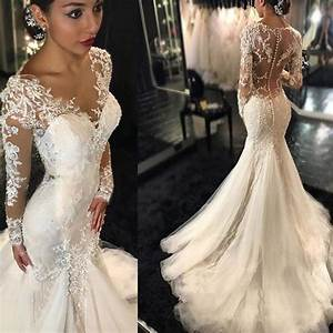 luxury see through long sleeve sexy mermaid lace tulle With see through wedding dress pictures