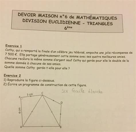 devoir maison de math 6eme bonsoir je suis en 6 232 me j ai un devoir maison de maths 224 rendre sur la division euclidienne