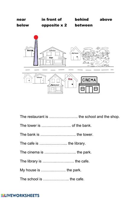 prepositions  place giving directions worksheet