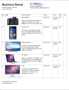 Product Price List Template With Pictures by 15 Price List Templates For Small Business Templateinn
