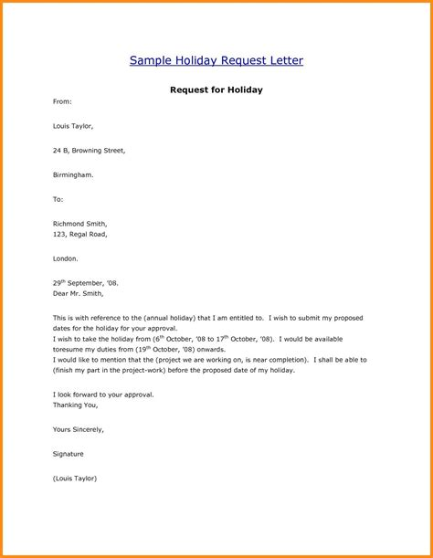 leave letter for vacation tour new request letter format