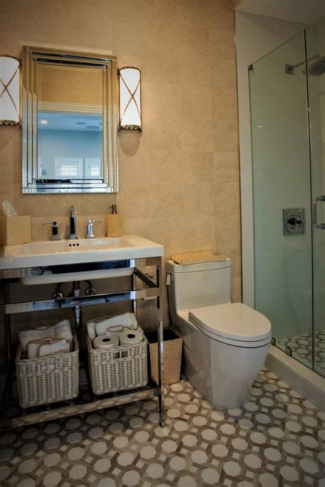 small bathroom  patterned neutral tile hgtv