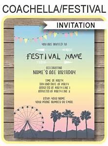 Dinosaur Birthday Party Invitations Coachella Themed Party Invitations Template Printable