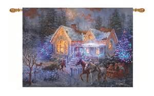 thomas kinkade welcome home fiber optic wall hanging 36x26 christmas tapestry ebay