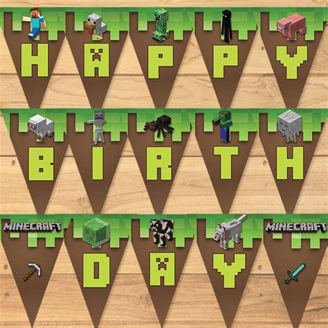 personalized minecraft birthday banner   monkstavern