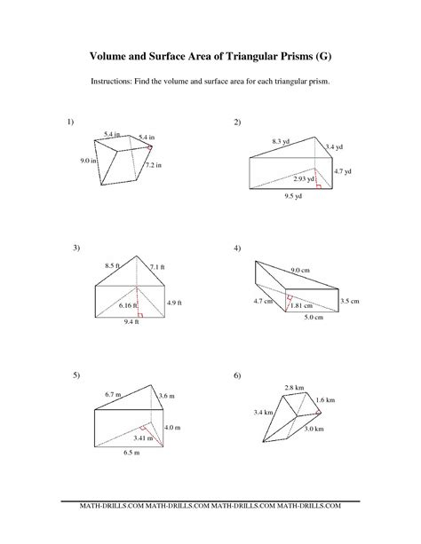 10 Best Images Of Surface Area Volume Worksheet  Triangular Prism Surface Area Worksheet, Area