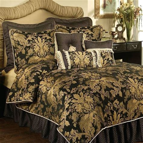 lismore black and gold damask comforter bedding from