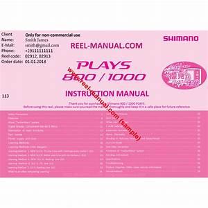 Shimano 2012 Plays 800 Download Original User Manual Guide