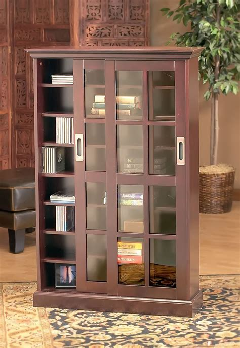 bookcases with sliding glass doors brown tall wooden bookcase comes with sliding glass doors