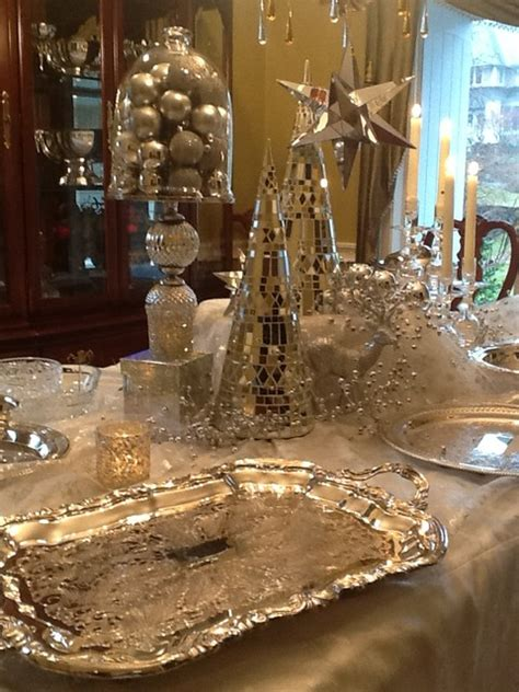 white  silver christmas decorating traditional dining room boston   england fine