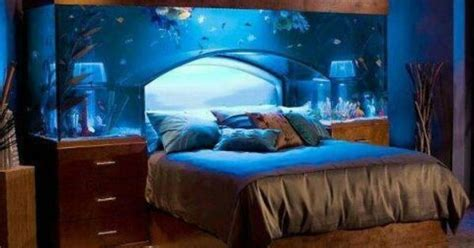 water themed rooms blue water master bedroom theme design with real aquarium interior idea and soft bedcover