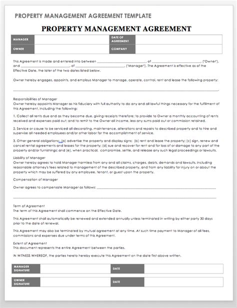 property management agreement template 18 free property management templates smartsheet
