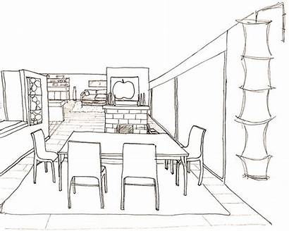 Dining Perspective Living Drawings Modern Background Drawing