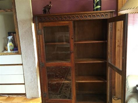 Oak Bookcases With Glass Doors by Antique Oak Scottish Bookcase With Glass Doors Circa 1920