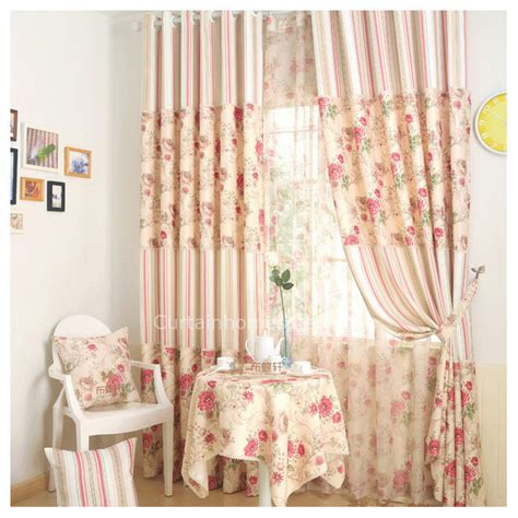 casual beige floral print blackout discount curtain and drapes