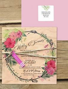tropical paradise invitation printed on wood online With tropical wedding invitations australia