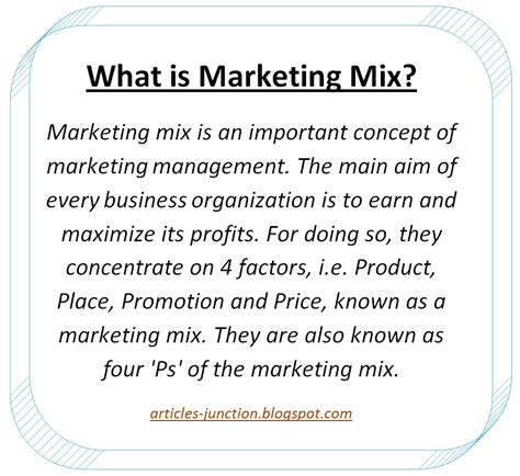 Explain Marketing by Articles Junction 4 P S Of Marketing Mix Elements Of
