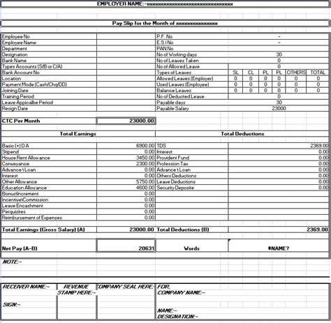 salary sheet slip format formats examples  word excel