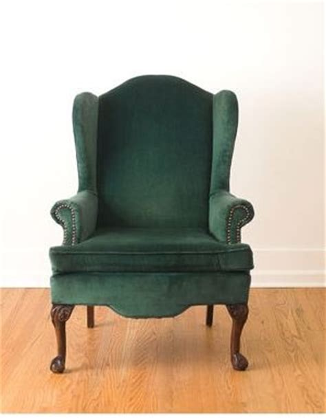 vintage emerald green velvet wing chair