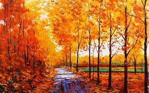Art artistic oil painting nature landscape trees forest ...