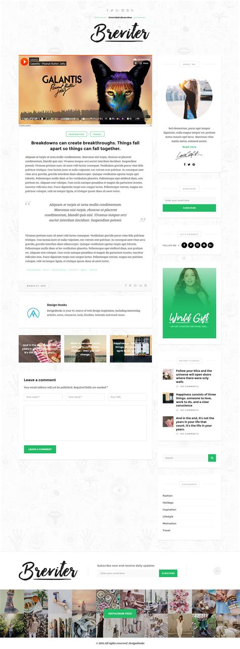 Single Post Page Template by Breviter Psd Templates Graphicsfuel