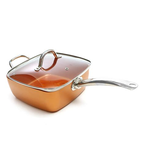 copper chef  piece cm deep dish square pan  stick coating grabitall