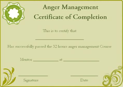 Anger Management Certificate Template by Certificate Of Completion 22 Templates In Word Format
