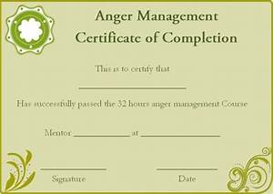 certificate of completion 22 templates in word format With anger management certificate template