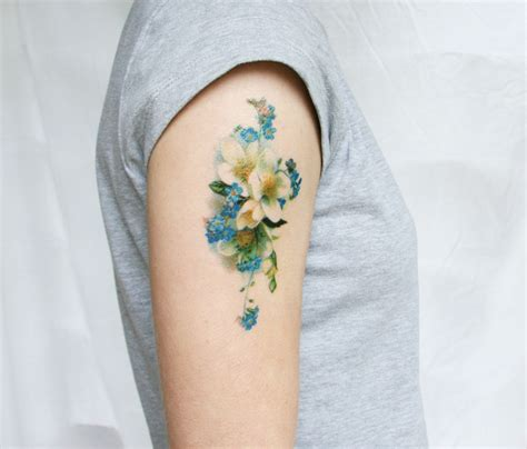 fake tattoo floral tattoo flower tattoo blue flower