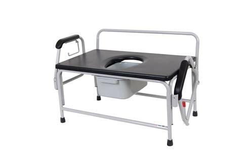 bariatric wide drop arm bedside commode leika