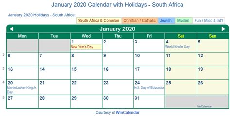print friendly january south africa calendar printing
