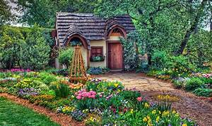 Magical And Lovely Cottage, flowers, flowers, grass ...