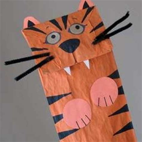 paper bag tiger puppet fun family crafts