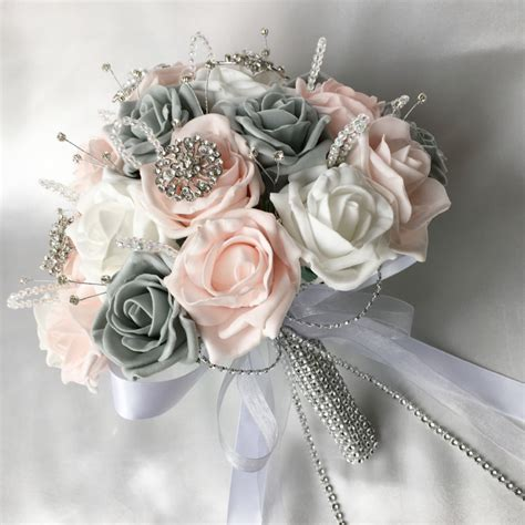 Brides Posy Pink Grey And White Roses Diamantes And Brooches