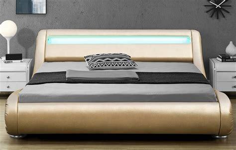 lit 180x200 led lit 180x200 or gold simili cuir sommier bande led light