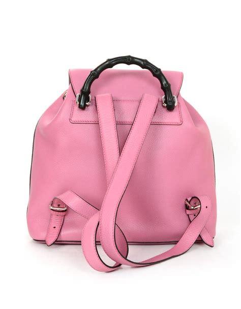 gucci glossy pink medium bamboo backpack bag rt