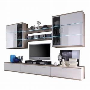 Tv Wand Weiß Hochglanz : wohnwand anbauwand schrankwand tv wand modern in eiche hochglanz wei neu ebay ~ Indierocktalk.com Haus und Dekorationen