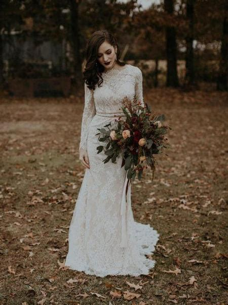 Long Sleeve Vintage Wedding Dresses Backless Rustic Lace