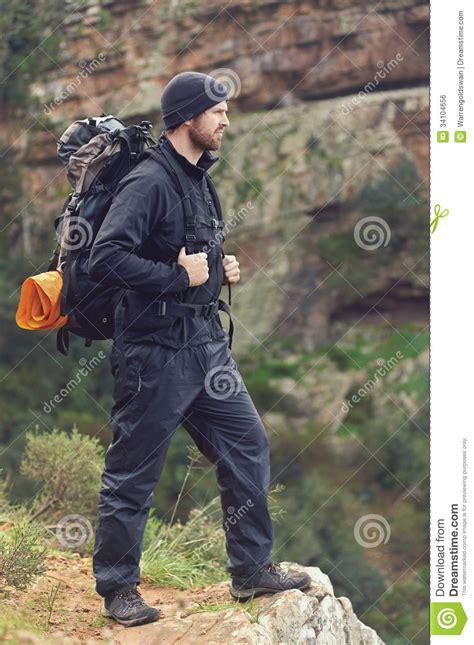 mountain trekking man royalty  stock image image