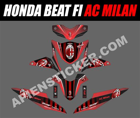 striping motor beat fi ac milan apien sticker