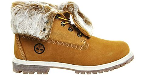 Timberland Leather Faux-fur Fold-down Boots In Brown