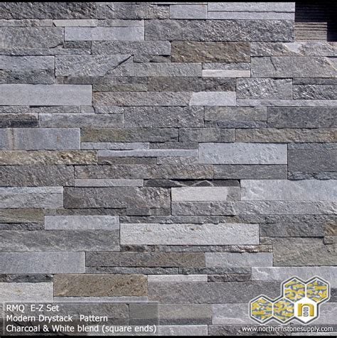 Square White Marble Veneer Concrete Modern Stack 1 Quot 2 Quot 3 Quot Pattern Square Ends Charcoal