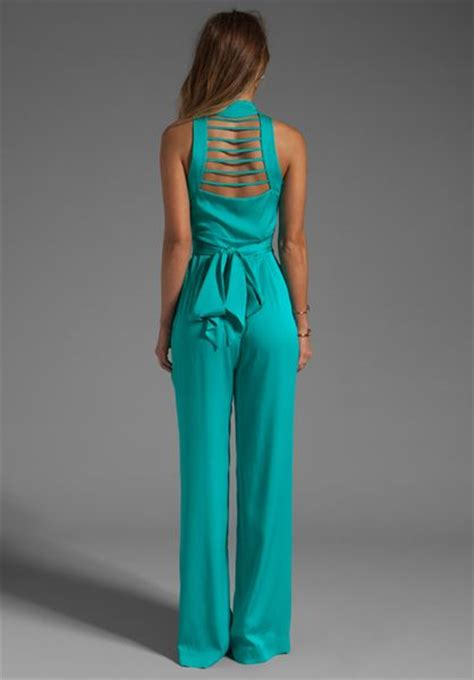 turquoise jumpsuit catherine malandrino string back jumpsuit in appletini in