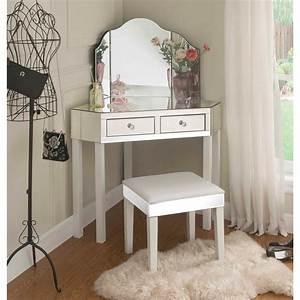 Inspired, Home, Daryl, Mirrored, Corner, 3-piece, Vanity, Set, White, -, Walmart, Com