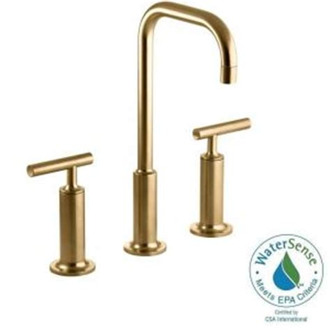 brushed gold bathroom faucet kohler purist 8 in widespread 2 handle mid arc bathroom