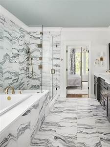 Gray, And, White, Marble, Bath, Tiles, -, Transitional