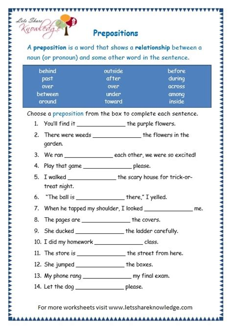 preposition worksheets for grade 11 1000 images about